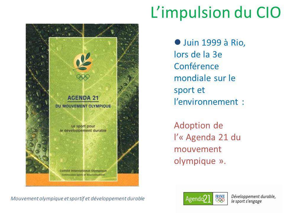 Limpulsion du CIO Juin 1999 à Rio, lors de la 3e Conférence mondiale sur le sport et lenvironnement : Adoption de l« Agenda 21 du mouvement olympique
