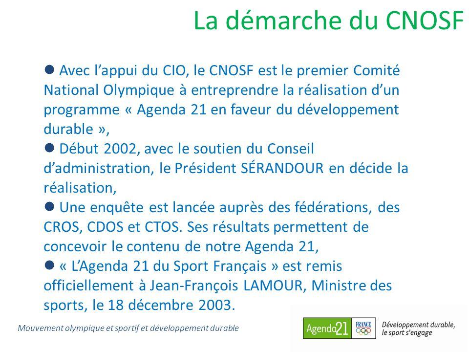 La démarche du CNOSF Avec lappui du CIO, le CNOSF est le premier Comité National Olympique à entreprendre la réalisation dun programme « Agenda 21 en faveur du développement durable », Début 2002, avec le soutien du Conseil dadministration, le Président SÉRANDOUR en décide la réalisation, Une enquête est lancée auprès des fédérations, des CROS, CDOS et CTOS.