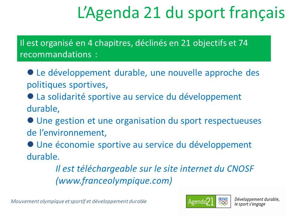 LAgenda 21 du sport français Il est organisé en 4 chapitres, déclinés en 21 objectifs et 74 recommandations : Le développement durable, une nouvelle approche des politiques sportives, La solidarité sportive au service du développement durable, Une gestion et une organisation du sport respectueuses de lenvironnement, Une économie sportive au service du développement durable.