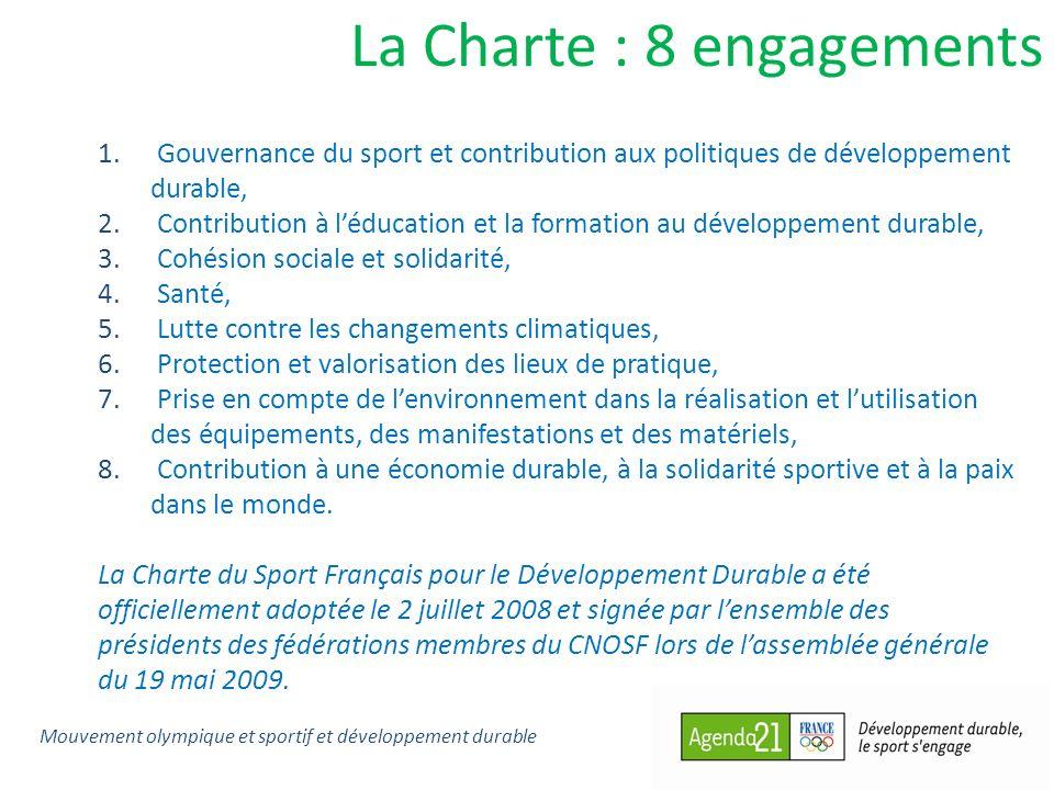 La Charte : 8 engagements 1. Gouvernance du sport et contribution aux politiques de développement durable, 2. Contribution à léducation et la formatio