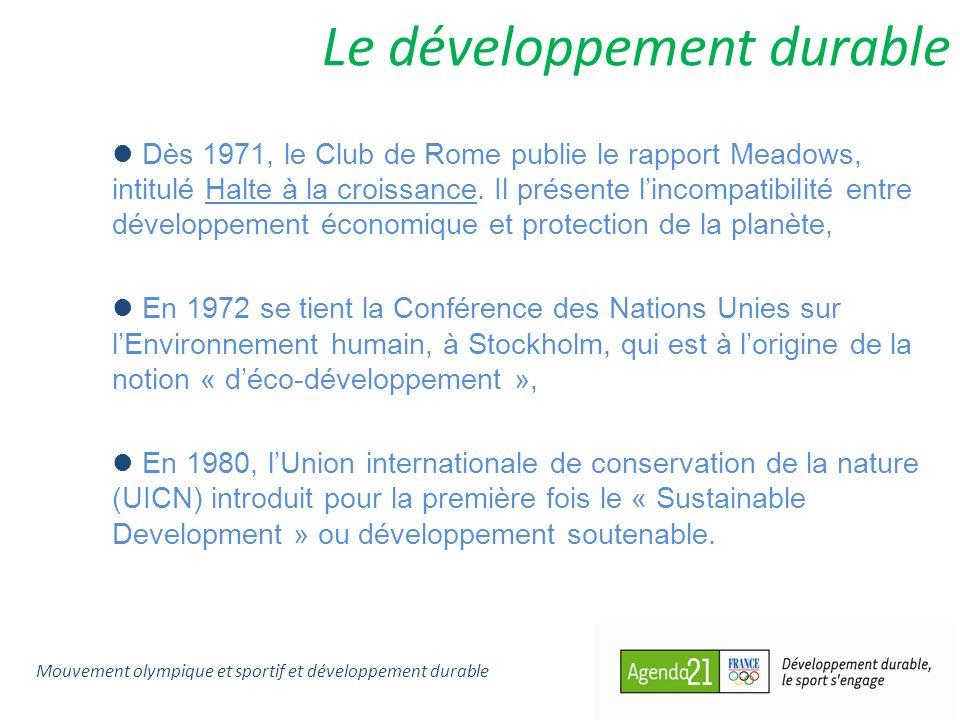 Le développement durable Dès 1971, le Club de Rome publie le rapport Meadows, intitulé Halte à la croissance. Il présente lincompatibilité entre dével