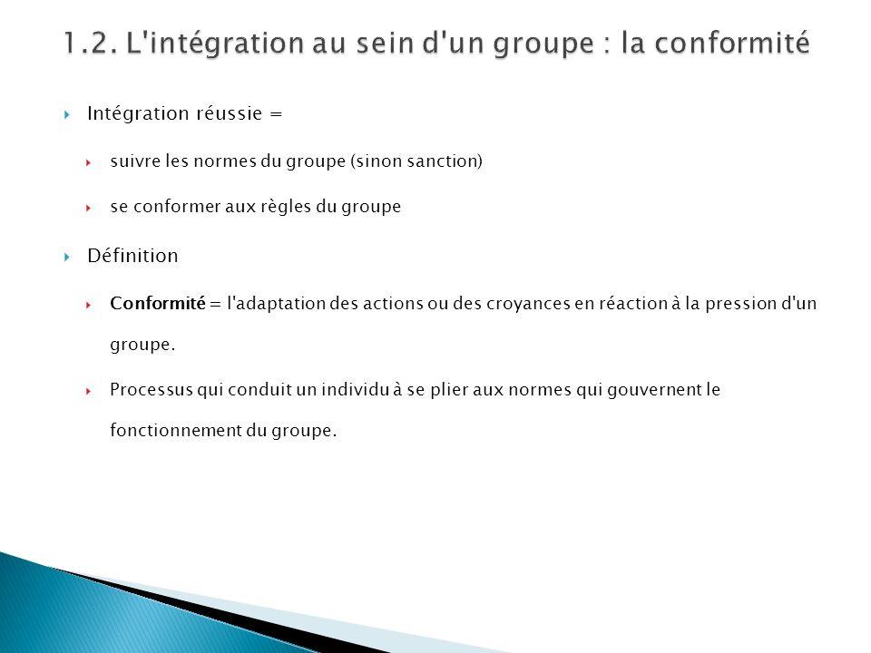 Intégration réussie = suivre les normes du groupe (sinon sanction) se conformer aux règles du groupe Définition Conformité = l'adaptation des actions