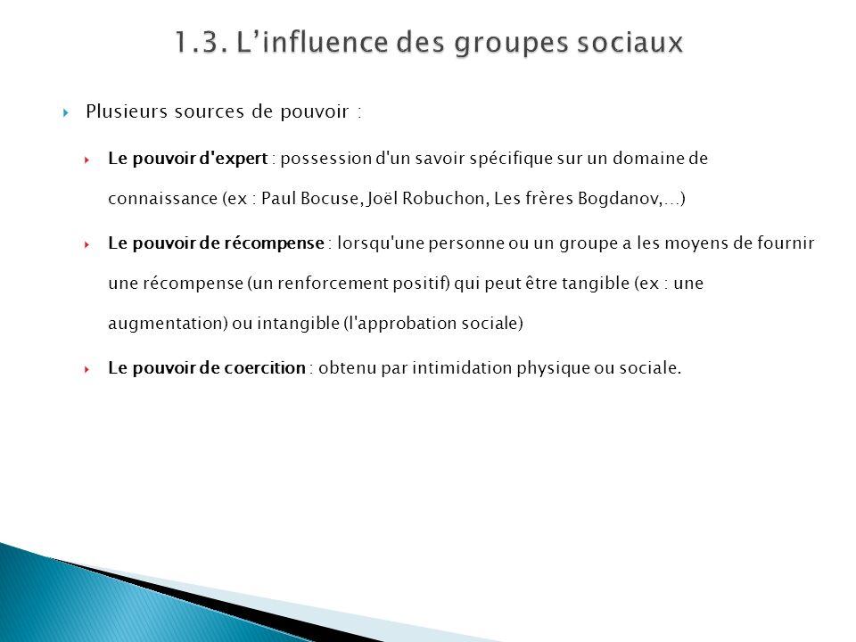 Plusieurs sources de pouvoir : Le pouvoir d'expert : possession d'un savoir spécifique sur un domaine de connaissance (ex : Paul Bocuse, Joël Robuchon