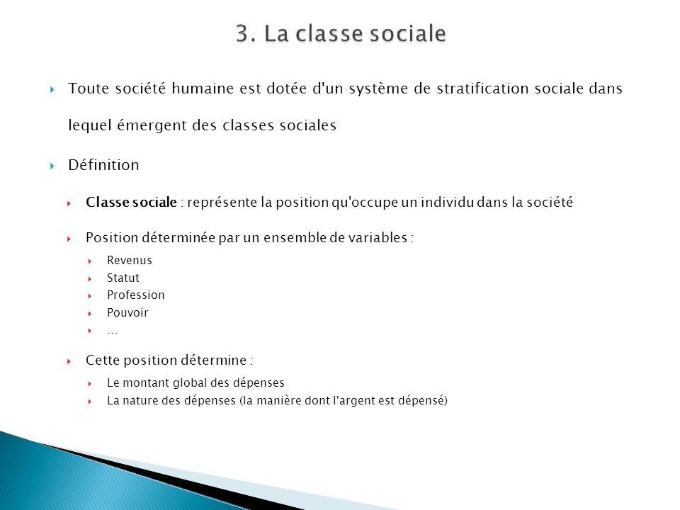 Toute société humaine est dotée d'un système de stratification sociale dans lequel émergent des classes sociales Définition Classe sociale : représent