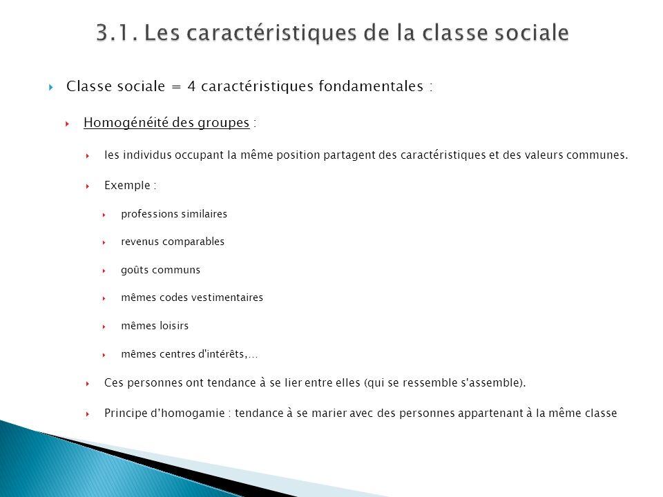 Classe sociale = 4 caractéristiques fondamentales : Homogénéité des groupes : les individus occupant la même position partagent des caractéristiques e