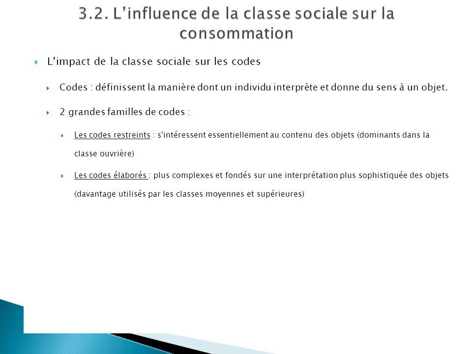 Limpact de la classe sociale sur les codes Codes : définissent la manière dont un individu interprète et donne du sens à un objet. 2 grandes familles