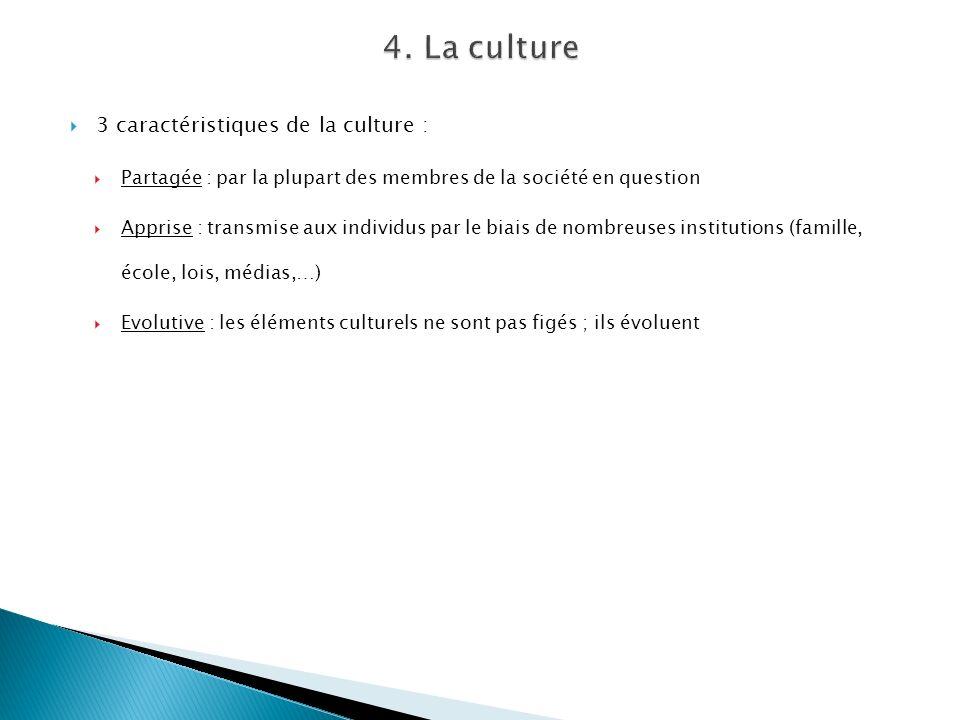 3 caractéristiques de la culture : Partagée : par la plupart des membres de la société en question Apprise : transmise aux individus par le biais de n