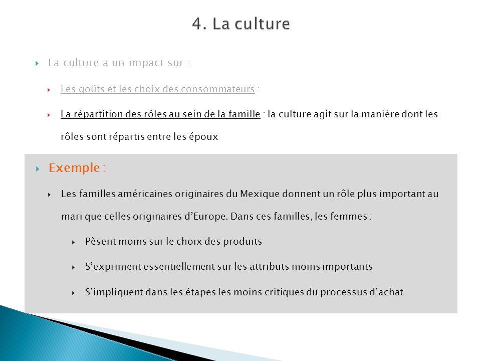 La culture a un impact sur : Les goûts et les choix des consommateurs : La répartition des rôles au sein de la famille : la culture agit sur la manièr