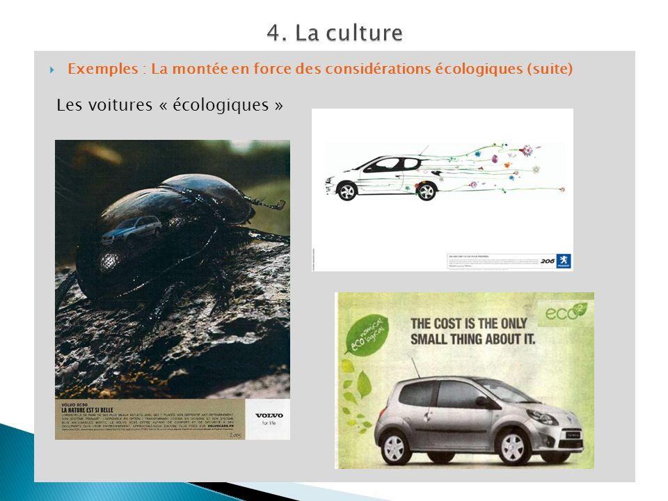 Exemples : La montée en force des considérations écologiques (suite) Les voitures « écologiques »