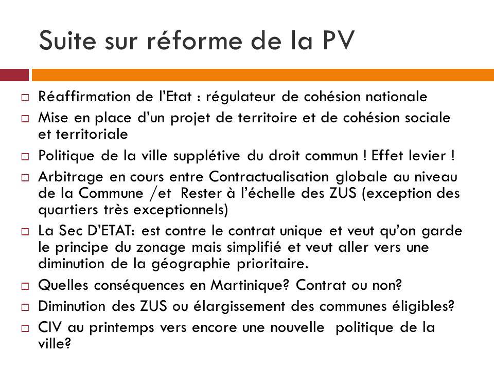 Suite sur réforme de la PV Réaffirmation de lEtat : régulateur de cohésion nationale Mise en place dun projet de territoire et de cohésion sociale et