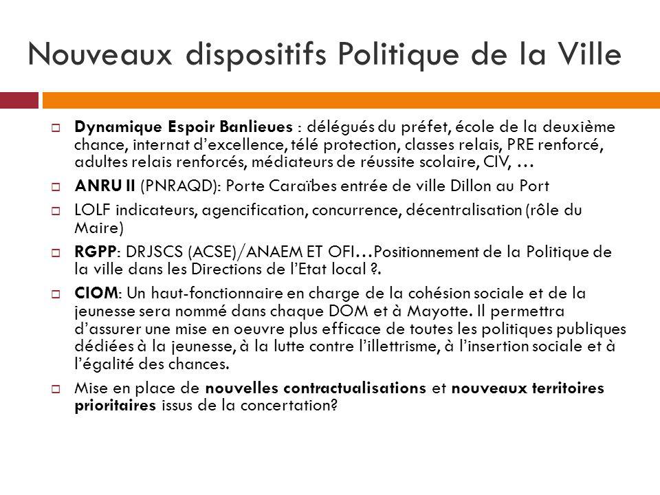 Nouveaux dispositifs Politique de la Ville Dynamique Espoir Banlieues : délégués du préfet, école de la deuxième chance, internat dexcellence, télé pr