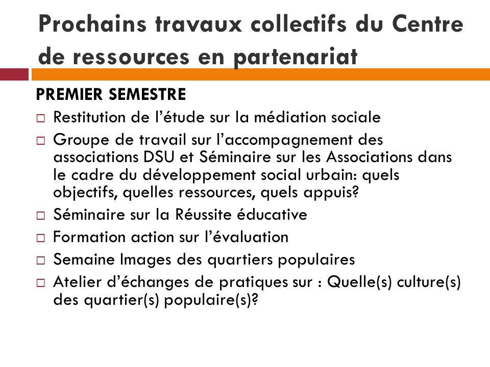 Prochains travaux collectifs du Centre de ressources en partenariat PREMIER SEMESTRE Restitution de létude sur la médiation sociale Groupe de travail