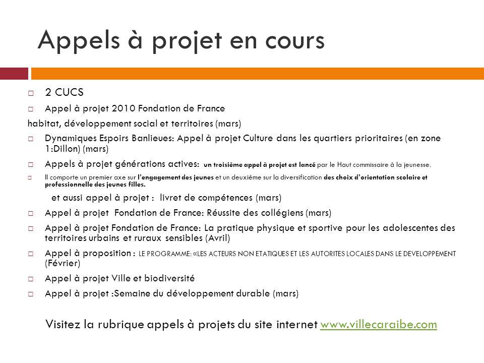Appels à projet en cours 2 CUCS Appel à projet 2010 Fondation de France habitat, développement social et territoires (mars) Dynamiques Espoirs Banlieu