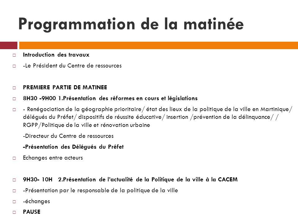 Programmation de la matinée Introduction des travaux -Le Président du Centre de ressources PREMIERE PARTIE DE MATINEE 8H30 -9H00 1.Présentation des ré