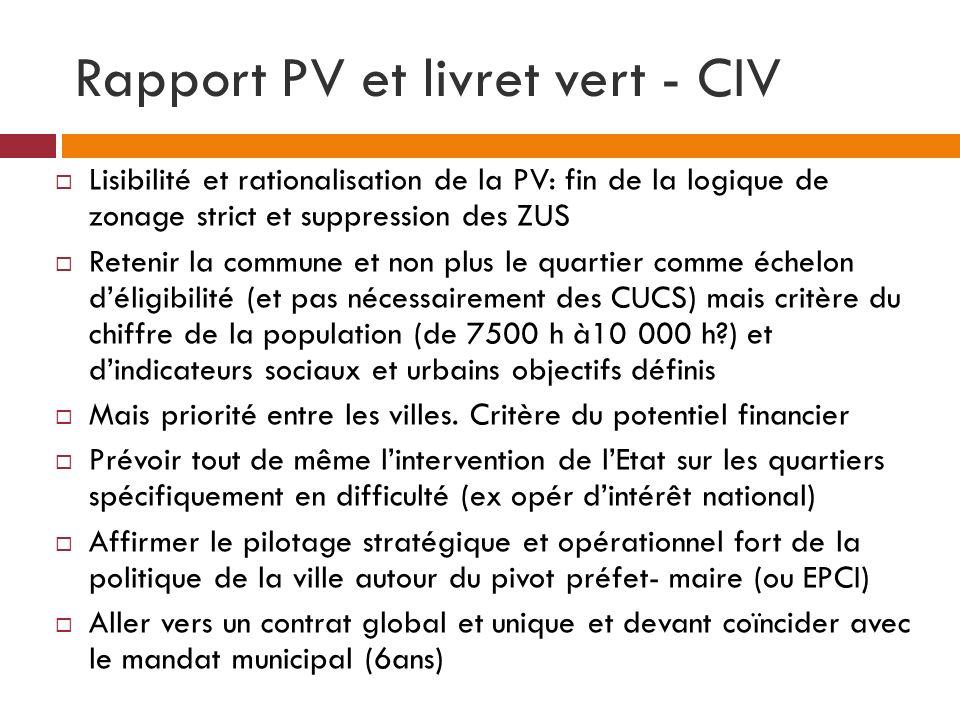Rapport PV et livret vert - CIV Lisibilité et rationalisation de la PV: fin de la logique de zonage strict et suppression des ZUS Retenir la commune e
