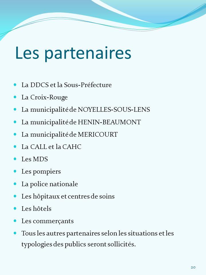 Les partenaires La DDCS et la Sous-Préfecture La Croix-Rouge La municipalité de NOYELLES-SOUS-LENS La municipalité de HENIN-BEAUMONT La municipalité d