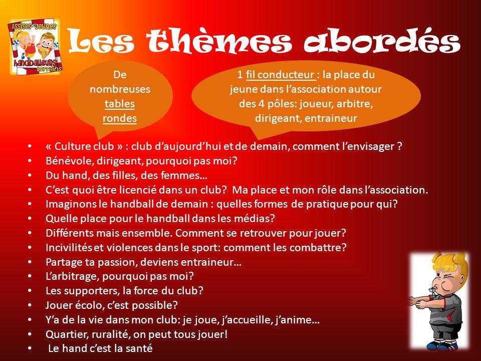 Les thèmes abordés « Culture club » : club daujourdhui et de demain, comment lenvisager .