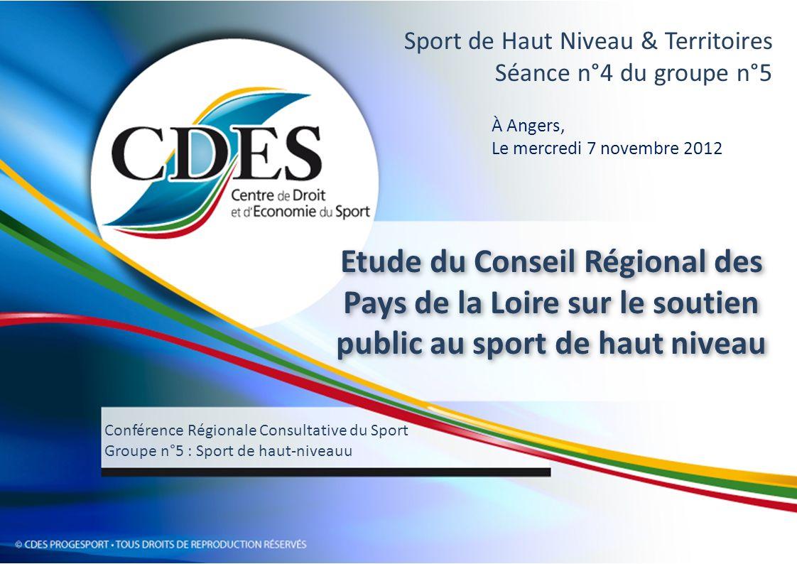 CRCS – G5 – 7/11/12 - Angers INTRODUCTION Soutiens publics aux athlètes et aux ligues régionales pour le haut-niveau SUJET de létude OBJET de lintervention - Présenter les résultats de létude menée par le CDES à la demande du Conseil Régional des Pays de la Loire - Echanger avec les membres du G5 de la CRCS sur la dimension territoriale du soutien au sport de haut niveau