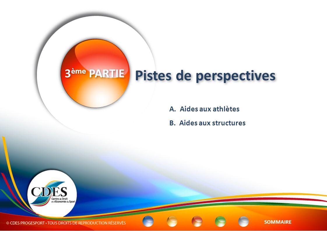 A. Aides aux athlètes B. Aides aux structures 3 ème PARTIE Pistes de perspectives SOMMAIRE