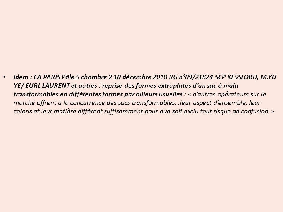 Idem : CA PARIS Pôle 5 chambre 2 10 décembre 2010 RG n°09/21824 SCP KESSLORD, M.YU YE/ EURL LAURENT et autres : reprise des formes extraplates dun sac