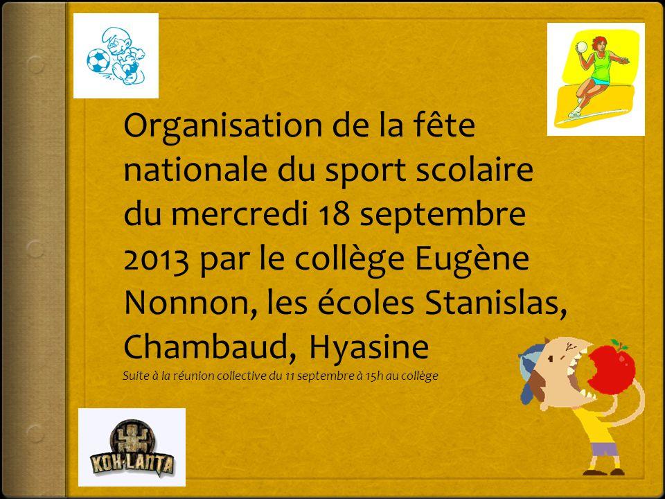Organisation de la fête nationale du sport scolaire du mercredi 18 septembre 2013 par le collège Eugène Nonnon, les écoles Stanislas, Chambaud, Hyasin
