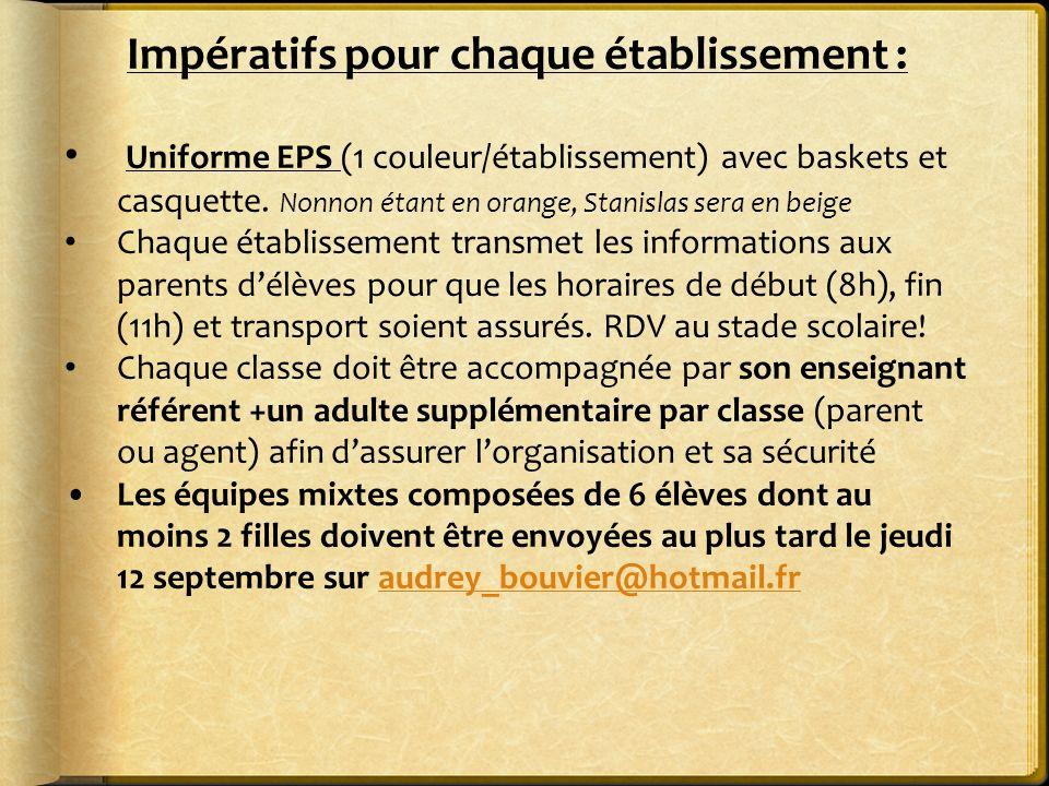 Impératifs pour chaque établissement : Uniforme EPS (1 couleur/établissement) avec baskets et casquette. Nonnon étant en orange, Stanislas sera en bei