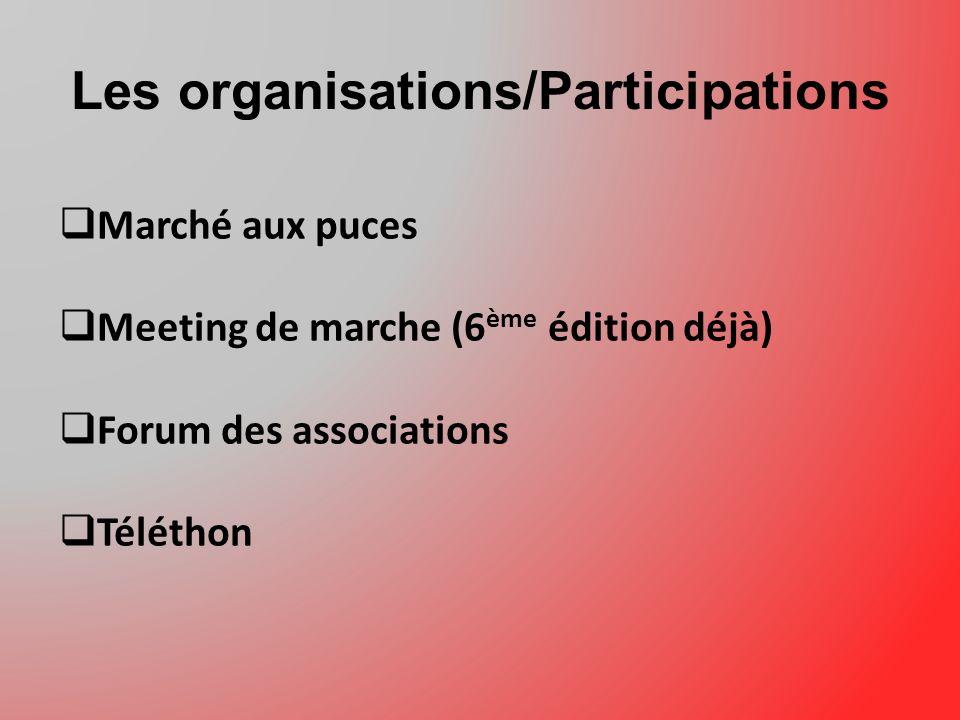 Les organisations/Participations Marché aux puces Meeting de marche (6 ème édition déjà) Forum des associations Téléthon