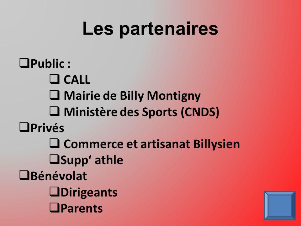 Les partenaires Public : CALL Mairie de Billy Montigny Ministère des Sports (CNDS) Privés Commerce et artisanat Billysien Supp athle Bénévolat Dirigeants Parents