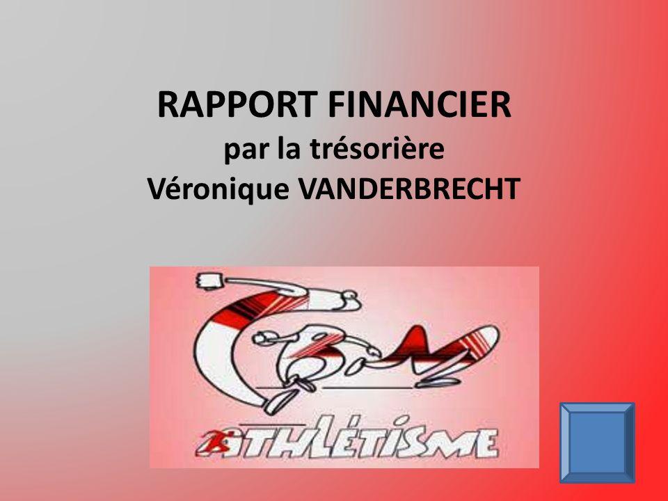 RAPPORT FINANCIER par la trésorière Véronique VANDERBRECHT