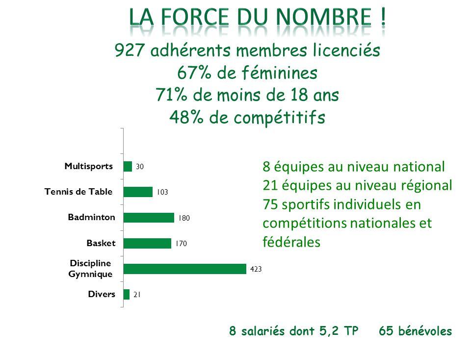 927 adhérents membres licenciés 67% de féminines 71% de moins de 18 ans 48% de compétitifs 8 salariés dont 5,2 TP 65 bénévoles 8 équipes au niveau nat