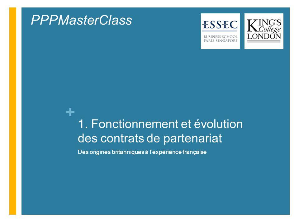 + 1. Fonctionnement et évolution des contrats de partenariat Des origines britanniques à lexpérience française PPPMasterClass