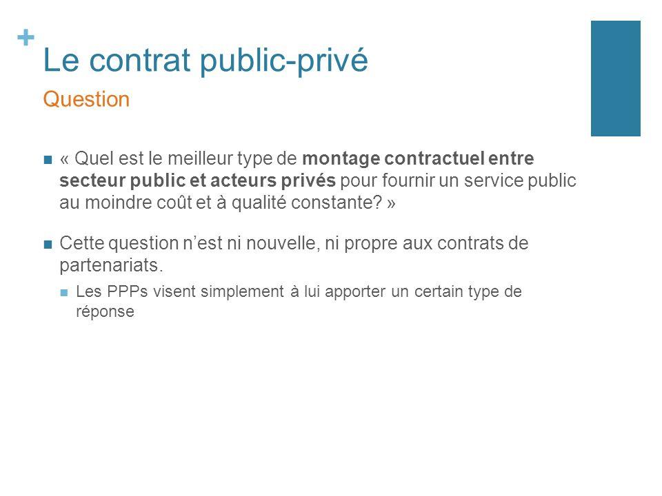 + Le contrat public-privé « Quel est le meilleur type de montage contractuel entre secteur public et acteurs privés pour fournir un service public au