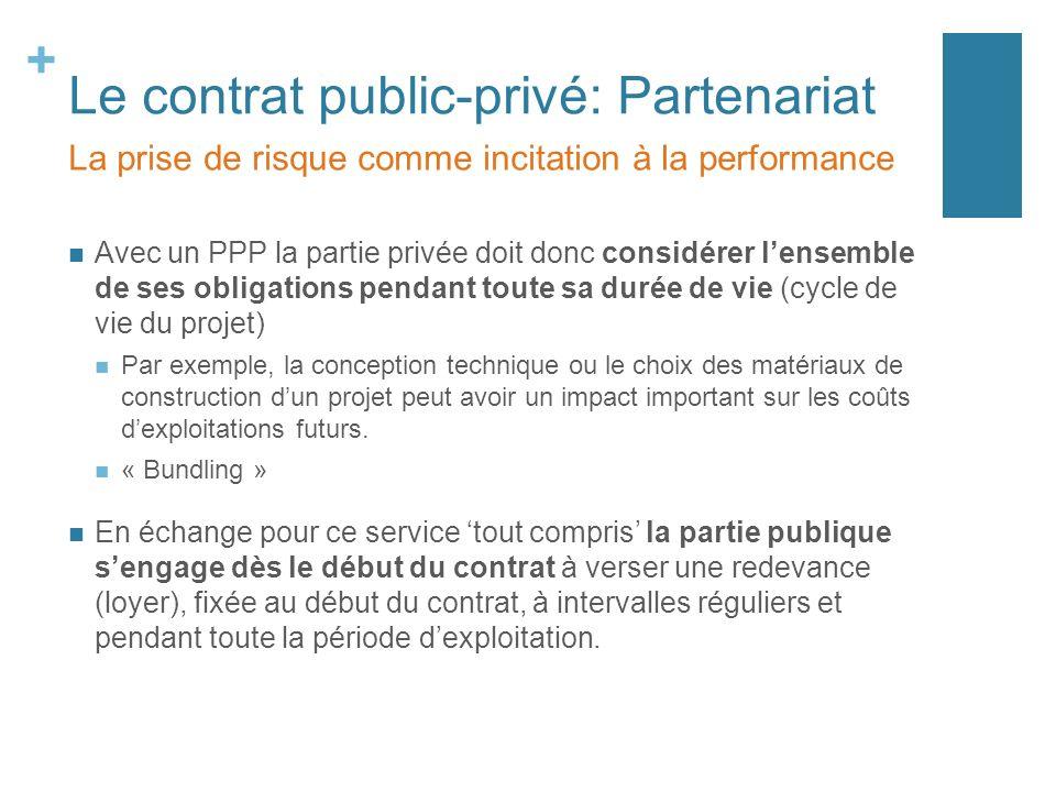 + Le contrat public-privé: Partenariat Avec un PPP la partie privée doit donc considérer lensemble de ses obligations pendant toute sa durée de vie (c