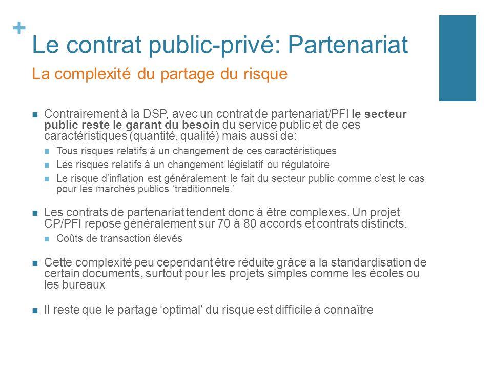 + Le contrat public-privé: Partenariat Contrairement à la DSP, avec un contrat de partenariat/PFI le secteur public reste le garant du besoin du servi
