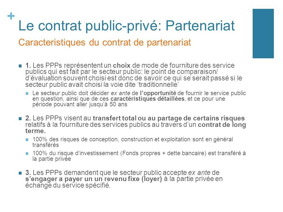 + Le contrat public-privé: Partenariat 1. Les PPPs représentent un choix de mode de fourniture des service publics qui est fait par le secteur public: