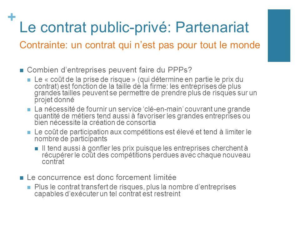 + Le contrat public-privé: Partenariat Combien dentreprises peuvent faire du PPPs? Le « coût de la prise de risque » (qui détermine en partie le prix