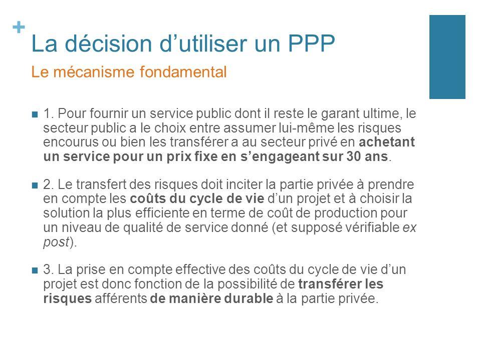 + La décision dutiliser un PPP 1. Pour fournir un service public dont il reste le garant ultime, le secteur public a le choix entre assumer lui-même l