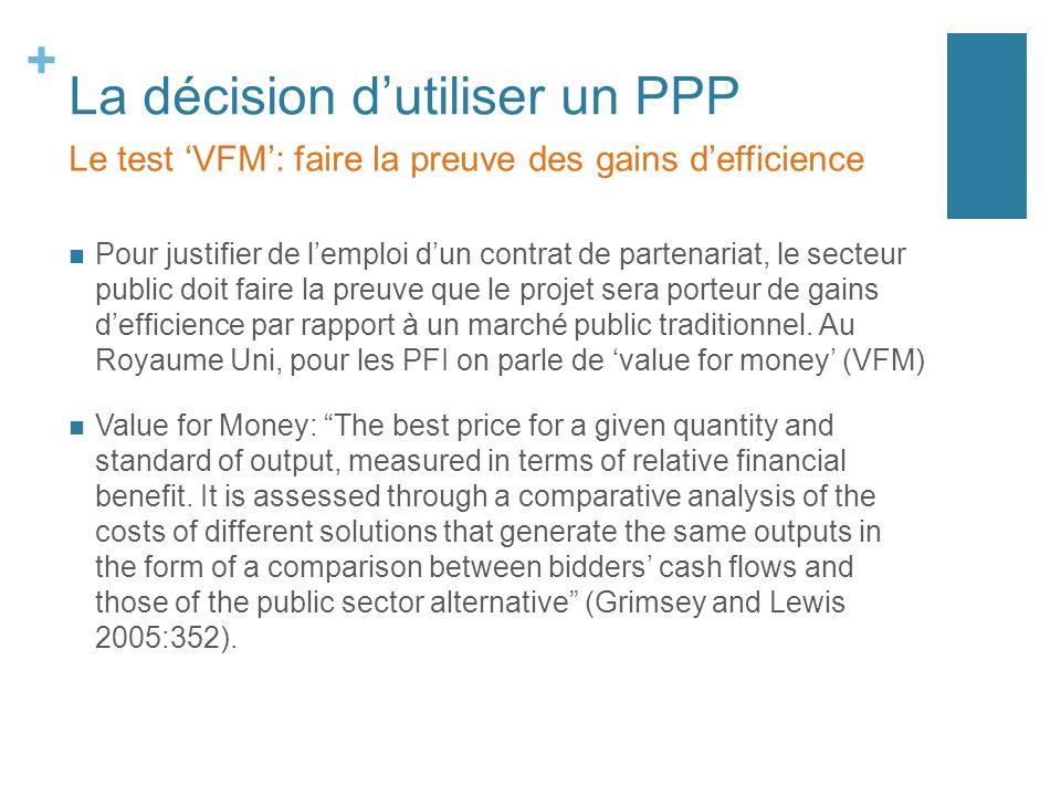 + La décision dutiliser un PPP Pour justifier de lemploi dun contrat de partenariat, le secteur public doit faire la preuve que le projet sera porteur