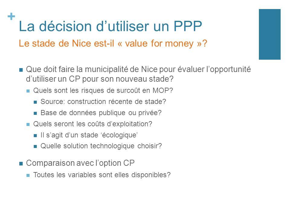 + La décision dutiliser un PPP Que doit faire la municipalité de Nice pour évaluer lopportunité dutiliser un CP pour son nouveau stade? Quels sont les