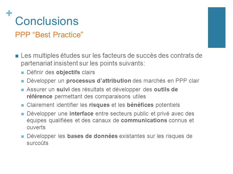 + Conclusions Les multiples études sur les facteurs de succès des contrats de partenariat insistent sur les points suivants: Définir des objectifs cla