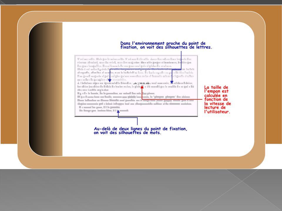 La série B entraîne à élargir l empan de lecture dans une situation proche de la lecture réelle d un texte (il y a au moins trois fixations par ligne).