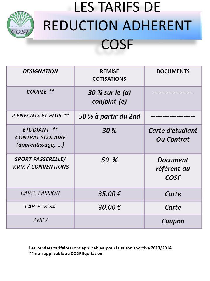 LES TARIFS DE REDUCTION ADHERENT COSF * DESIGNATIONREMISE COTISATIONS DOCUMENTS COUPLE ** 30 % sur le (a) conjoint (e) ------------------ 2 ENFANTS ET