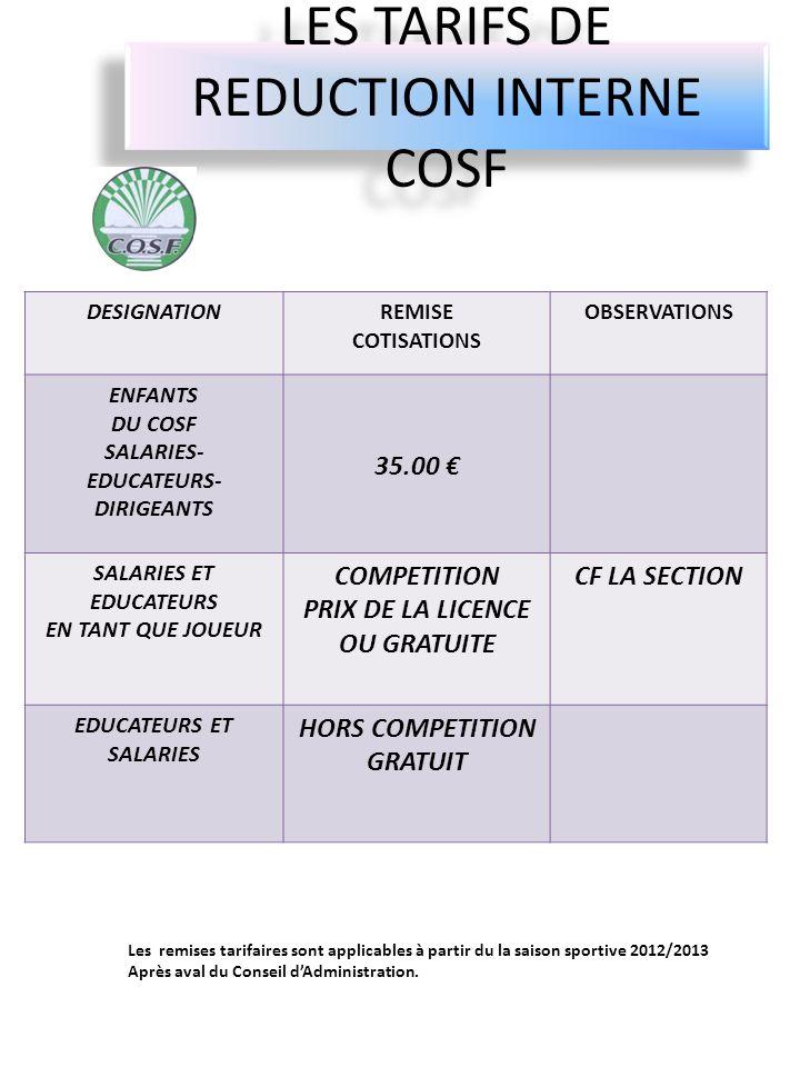 LES TARIFS DE REDUCTION INTERNE COSF DESIGNATIONREMISE COTISATIONS OBSERVATIONS ENFANTS DU COSF SALARIES- EDUCATEURS- DIRIGEANTS 35.00 SALARIES ET EDU