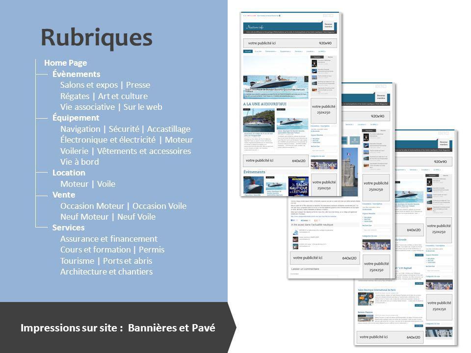 Impressions sur site : Bannières et Pavé Home Page Évènements Salons et expos | Presse Régates | Art et culture Vie associative | Sur le web Équipemen