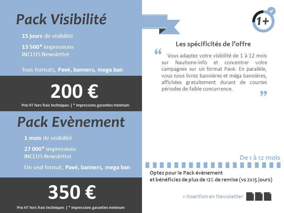 Pack Evènement 1 mois de visibilité 27 000* impressions INCLUS Newsletter Un seul format, Pavé, banners, mega ban Les spécificités de loffre Vous adap