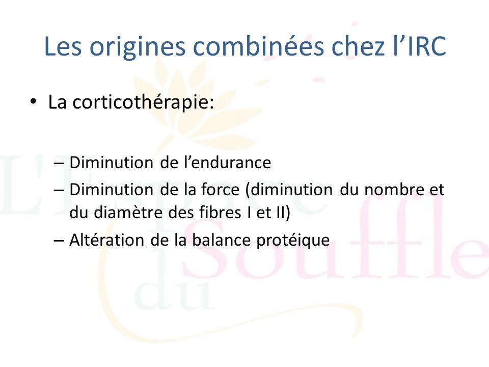 Les origines combinées chez lIRC La corticothérapie: – Diminution de lendurance – Diminution de la force (diminution du nombre et du diamètre des fibr