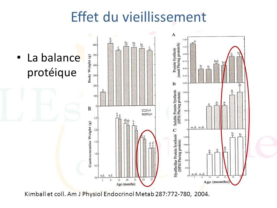 Effet du vieillissement La balance protéique Kimball et coll. Am J Physiol Endocrinol Metab 287:772-780, 2004.