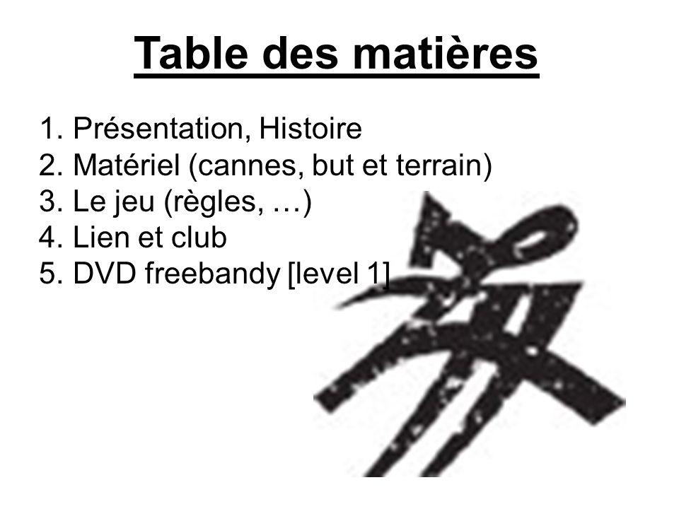 Table des matières 1.Présentation, Histoire 2. Matériel (cannes, but et terrain) 3.