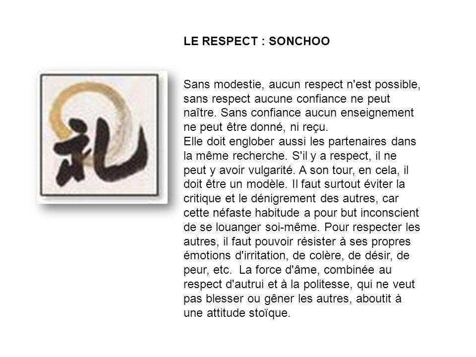 LE RESPECT : SONCHOO Sans modestie, aucun respect n est possible, sans respect aucune confiance ne peut naître.