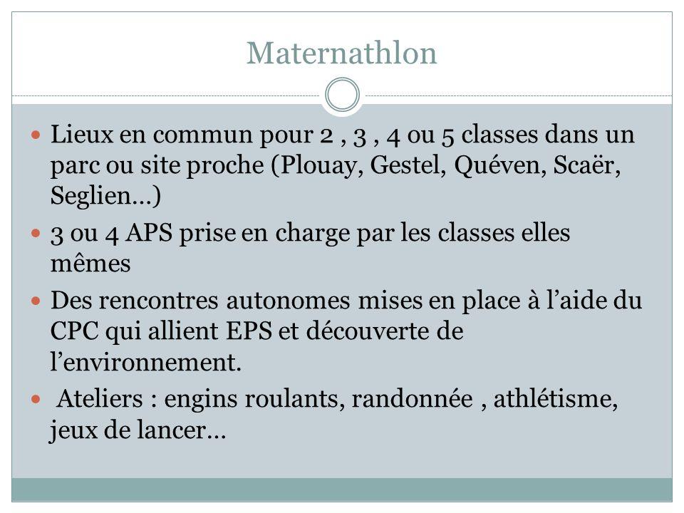 Maternathlon Lieux en commun pour 2, 3, 4 ou 5 classes dans un parc ou site proche (Plouay, Gestel, Quéven, Scaër, Seglien…) 3 ou 4 APS prise en charg